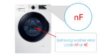 Samsung washer error code nF or 4E