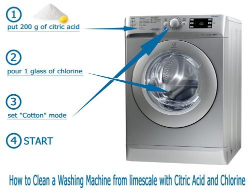 How to Clean a Washing Machine from limescale with Citric Acid and Chlorine