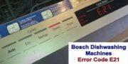 Bosch dishwasher error code E21