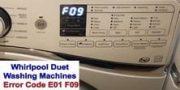 Whirlpool Duet washer error code E01 F09